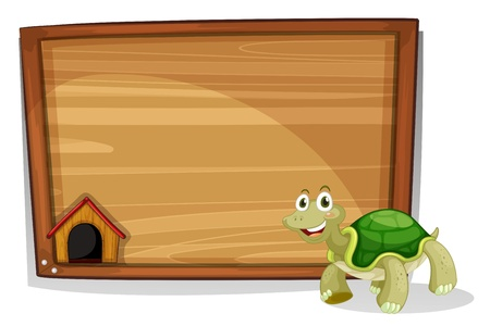 Illustration of a turtle in front of an empty board on a white background Vector