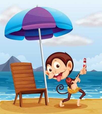 parola: Illustration of a monkey at the beach Illustration