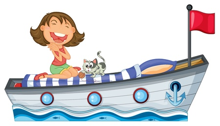 Illustration of a boat with a girl and a cat on a white background Vector