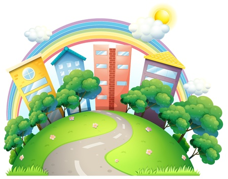cartoon rainbow: Illustration of the high buildings and the rainbow on a white background