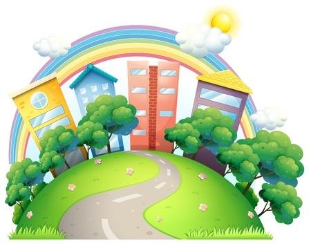 arcoiris caricatura: Ilustración de los edificios altos y el arco iris en un fondo blanco
