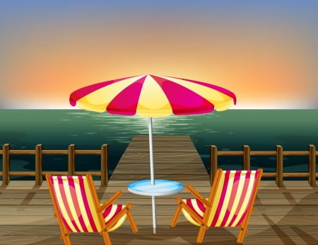 pier: Illustration of a wooden bridge with an umbrella and chairs