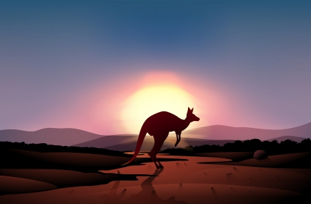 Illustration of a sunset at the desert with a kangaroo Vector