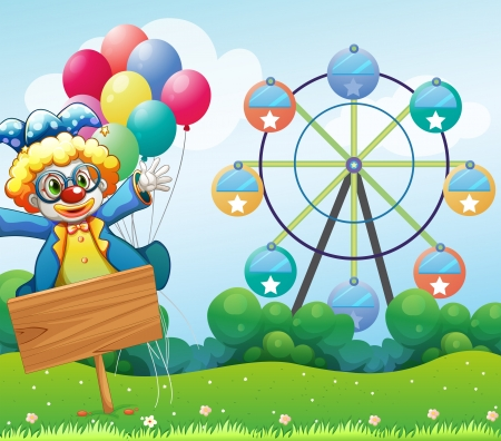fete: Illustration of a clown with balloons and the empty signage