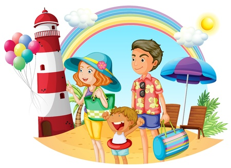 Illustration of a family at the beach with a lighthouse on a white background