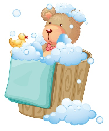 cleaning bathroom: Illustration of a bear inside the pail full of bubbles on a white background