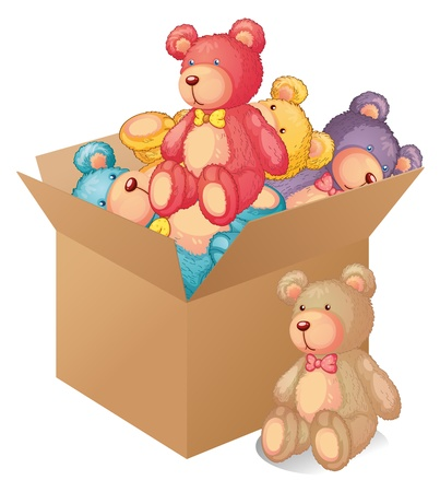 soft toy: Illustration of a box full of toys on a white background