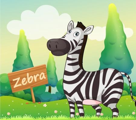 beside: Illustration of a zebra beside a signboard