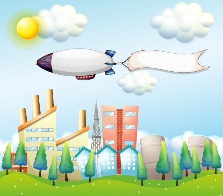 blimp: Ilustraci�n de una aeronave con una bandera vac�a por encima de los edificios altos Vectores