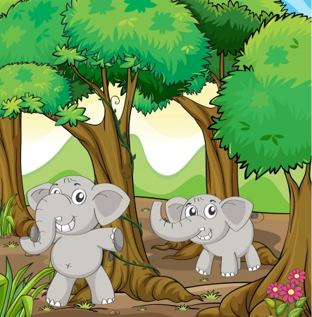 picutre: Illustration of the two young elephants in the forest Illustration