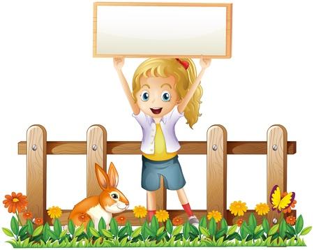 Illustration d'une fille avec un cadre vide et un lapin sur un fond blanc
