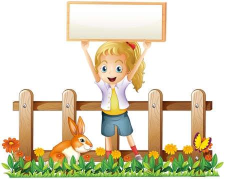 Illustration of a girl with an empty frame and a bunny on a white background Vector