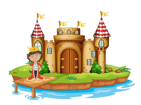 Illustration of a king near the castle on a white background Vector