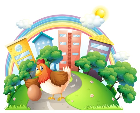 Illustration of a hen and her egg at the road on a white background Vector