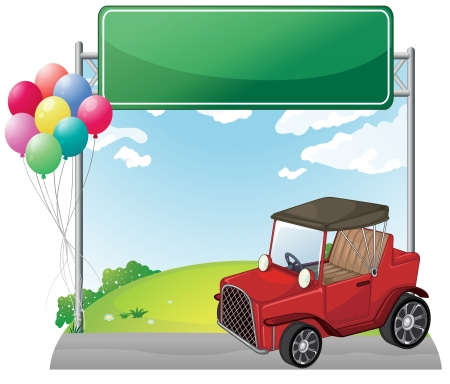 Illustration of a red jeep near an empty green board on a white background Vector
