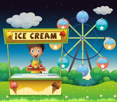 carretto gelati: Illustrazione di un ragazzo con una stalla gelato nei pressi della ruota panoramica
