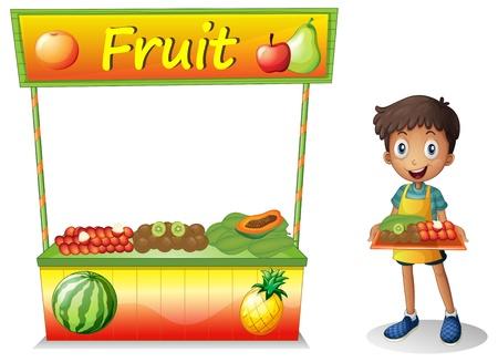 bancarella: Illustrazione di un ragazzo che vende la frutta su uno sfondo bianco