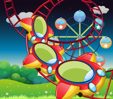 amusement park ride: Illustration of the colorful roller coaster