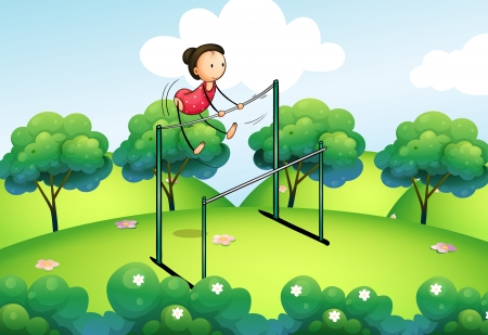 uneven: Illustration of a gymnast at the top of the hills Illustration