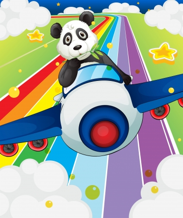 Illustration of a panda riding in a plane Vector