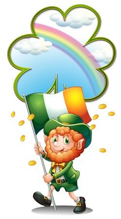 patron saint of ireland: Illustration of an old man holding the flag of Ireland on a white background Illustration