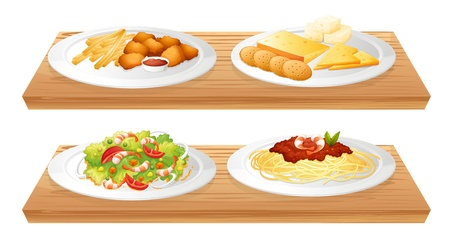 nuggets pollo: Ilustración de las dos bandejas de madera con cuatro placas llenas de alimentos sobre un fondo blanco Vectores