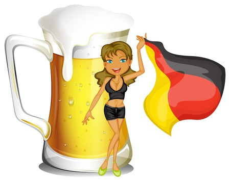 Illustration of a big mug of beer at the back of a lady holding the flag of Germany on a white background Stock Vector - 18549706