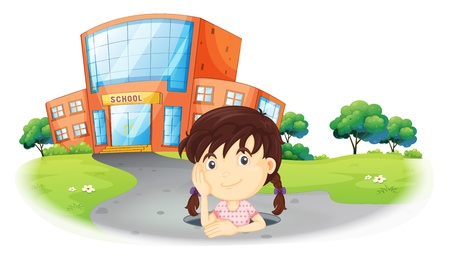 home school: Illustration of a young girl inside the hole in the road on a white background