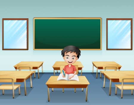 alone person: Illustration of a boy inside a classroom with an empty board at the back