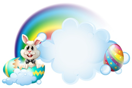 Illustration of a cracked egg with a bunny near the rainbow on a white background Vector