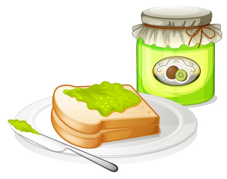 melaware: Illustration of a sandwich with a jam  on a white background Illustration