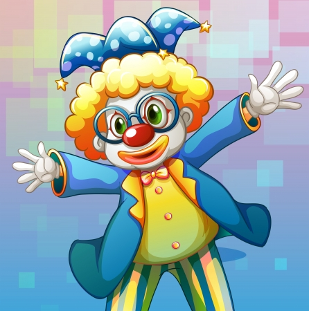 picture card: Illustration of a clown with a colorful costume