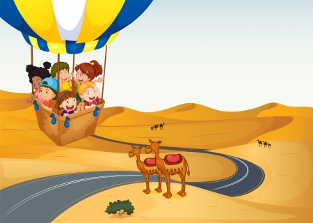 Illustration of the hot air balloon with kids at the desert Vector