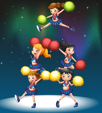 Illustration of a cheering squad Vector