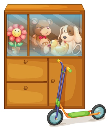 Illustration of a cabinet full of toys at the back of a scooter on a white background Vector