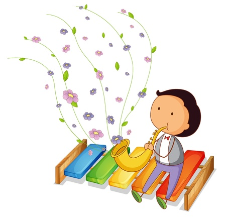 xylophone: Illustration of a gentleman playing with the trumpet on a white background