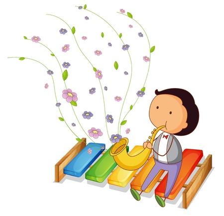 xylophone: Ilustraci�n de un caballero juega con la trompeta en un fondo blanco Vectores