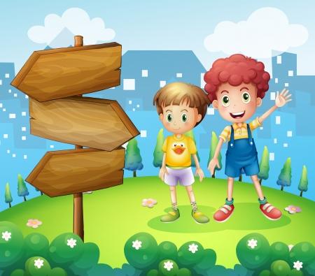 niños jugando en el parque: Ilustración de la flecha de madera al lado de los dos jóvenes Vectores