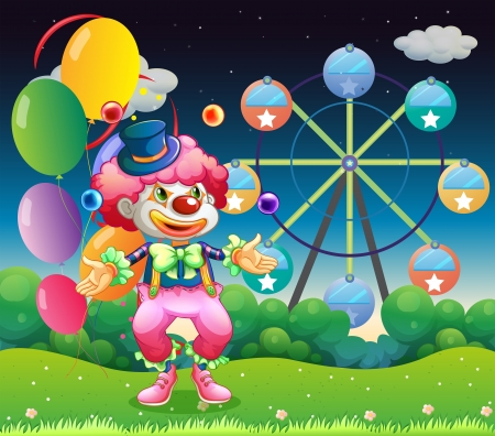 Illustration of a ferris wheel and the clown with balloons Stock Vector - 18549624