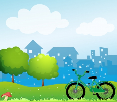 Illustration of a bicycle in front of the village Vector