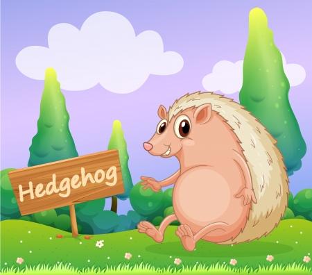 Illustration of a hedgehog beside a wooden signage Stock Vector - 18549494
