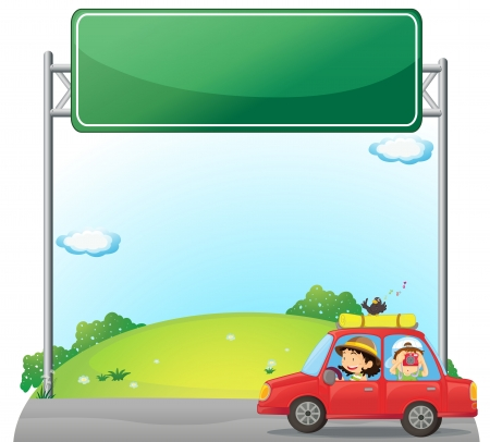 woman driving: Illustration of a car driven by a woman near an empty signage Illustration