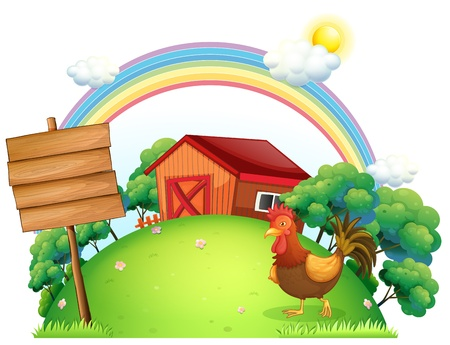 cartoon farm: Illustration of a rooster and the empty boards in front of a house on a white background