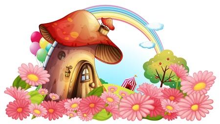 白い背景の上の花の庭とキノコの家のイラスト