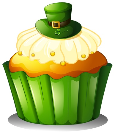 feast of saint patrick: Illustration of a cupcake with a green hat on a white background