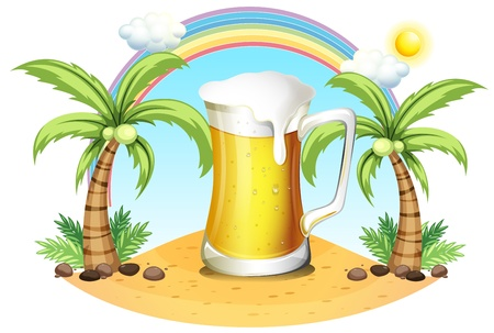 Illustration of a giant mug of beer near the coconut trees on a white background Vector
