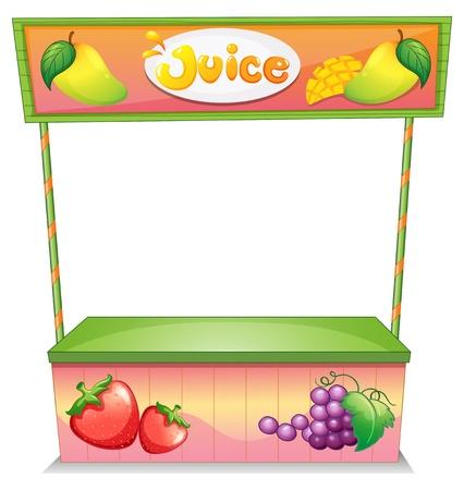bancarella: Illustrazione di un venditore di frutta bancarella su uno sfondo bianco