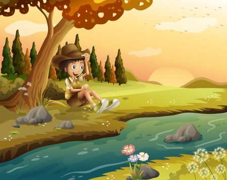 Illustration of a boy sitting at the riverbank Vector