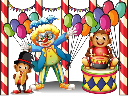 Illustration of a carnival with a clown and monkeys on a white background Vector