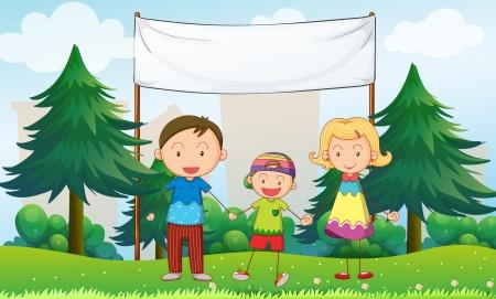 family clipart: Illustrazione di una famiglia al parco con un banner vuoto